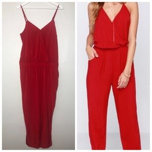 NWT Express cross front faux wrap red jumpsuit